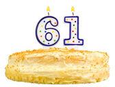 Narozeninový dort svíčky číslo šedesát jedna izolovaná