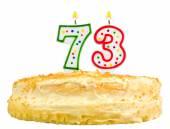 Narozeninový dort svíčky číslo sedmdesát tři