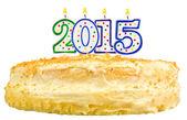 Narozeninový dort s svíčky číslo 2015 izolované