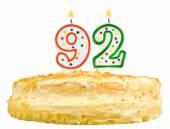 Narozeninový dort svíčky číslo devadesát dva izolované