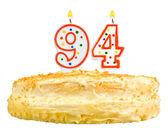 Narozeninový dort svíčky číslo devadesát čtyři izolované