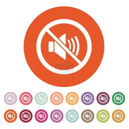 The no sound icon. Volume Off symbol. Flat