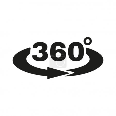 The Angle 360 degrees icon. Rotation symbol. Flat ...