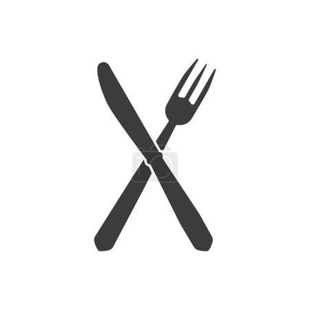 Illustration pour L'icône du couteau et de la fourchette. Couteau et fourchette symbole. Illustration vectorielle plate - image libre de droit