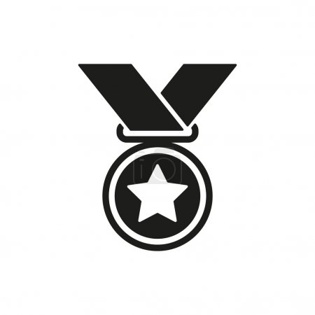 Illustration for The medal icon. Prize symbol. Flat Vector illustration - Royalty Free Image