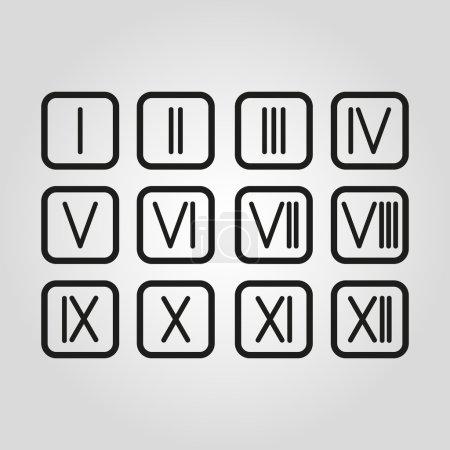 Set Roman numerals 1-12 icon