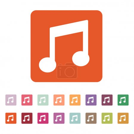 The music disk icon. Musical symbol. Flat