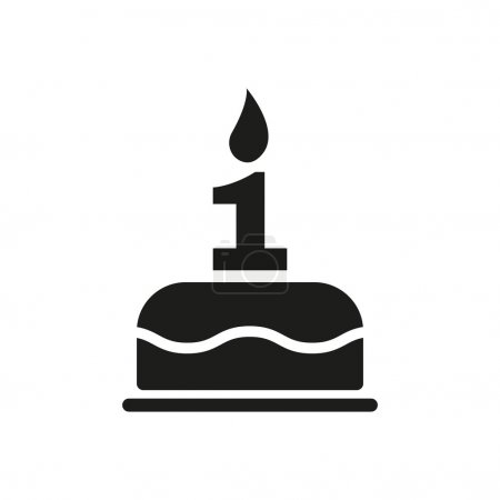 Illustration pour Le gâteau d'anniversaire avec des bougies sous la forme de l'icône numéro 1. Symbole d'anniversaire. Illustration vectorielle plate - image libre de droit