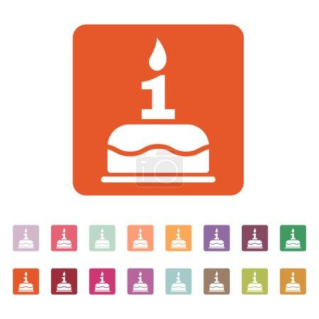 Illustration pour Le gâteau d'anniversaire avec des bougies sous la forme de l'icône numéro 1. Symbole d'anniversaire. Illustration vectorielle plate. Ensemble de boutons - image libre de droit