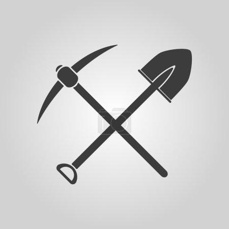 Illustration pour L'icône du pique-nique de croisement. Pioche et excavation, creusement, symbole minier. Illustration vectorielle plate - image libre de droit