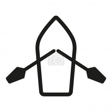 The boat and oars icon. Skiff And Paddle symbol. Flat