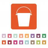 The bucket icon Pail and bucketful symbol Flat Vector illustration Button Set
