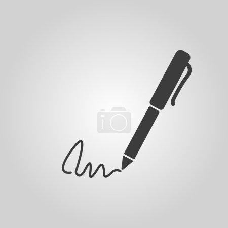 Illustration pour L'icône de signature. Stylo et souscrire, souscrire, ratifier le symbole. Illustration vectorielle plate - image libre de droit
