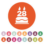 The birthday cake with candles in the form of number 28 icon Birthday symbol Flat
