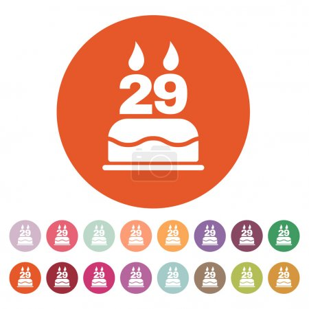 The birthday cake with candles in the form of number 29 icon. Birthday symbol. Flat