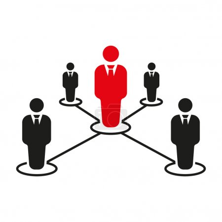 The teamwork icon. Leadership and connection, business teams symbol. Flat