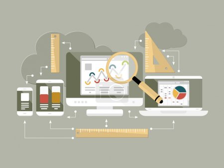 Flat design website analytics vector illustration