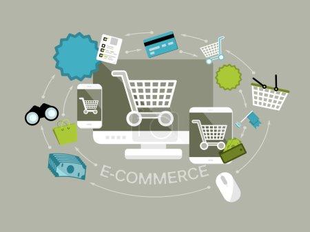 Flat design e-commerce vector illustration