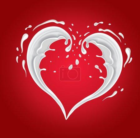 Milk splash shape heart on red background