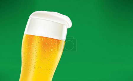 Beer with great foam and many drops on green background