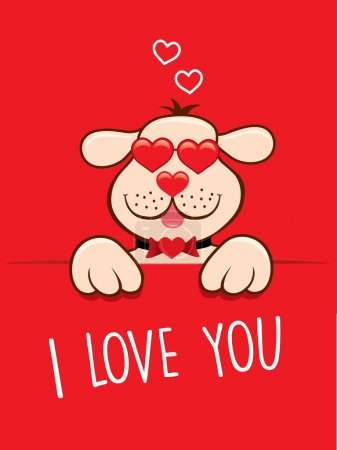 Valentine card lovely dog with sunglasses like heart