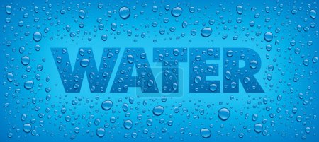 Illustration for Water drops on blue background - Royalty Free Image
