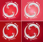 Úvodní kruh mléka na různých červeném pozadí