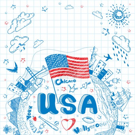 USA tourism vector background