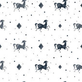 Stylish seamless pattern with running horses and dots in black white colors Vector trendy fashion illustration Works well as wrapping paper textile fabric print background Animal vintage design
