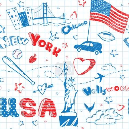 Photo pour Affiche de gribouillis dessinée à la main. Encre de dessin animé motif sans couture avec drapeau des États-Unis, villes, lettres, étoiles, Statue de la Liberté sur le fond de la feuille de papier. Contexte vectoriel du tourisme . - image libre de droit