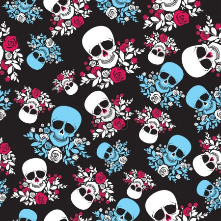 Seamless pattern with scull and roses