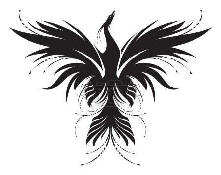 Illustration for Stylized image of Phoenix, who rise from the ashes in black and white. Works well as a mascot, tattoo or T-shirt graphic. - Royalty Free Image