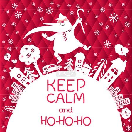 Christmas greeting card with Santa Claus