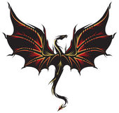 Dragon tattoo in black golden and red
