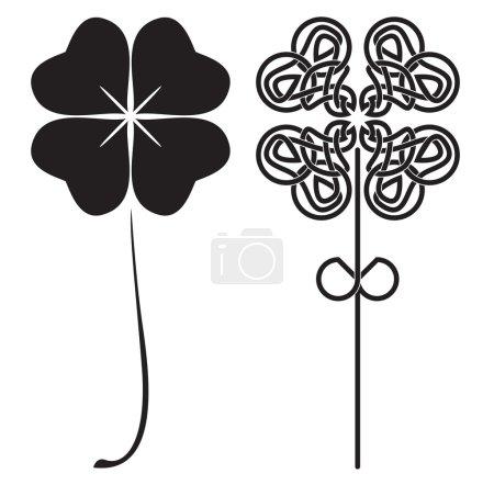 Black four-leaf clovers