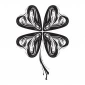 Stylized image of black four-leaf clover in vector