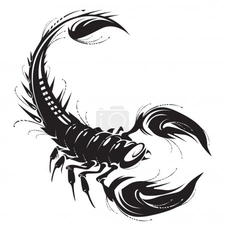 Illustration for Black scorpion tattoo in vector. - Royalty Free Image