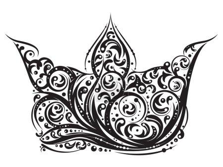 Illustration pour Tatouage couronne noire dans le vecteur . - image libre de droit