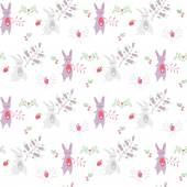 Cute seamless pattern with rabbits