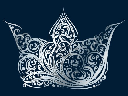 Illustration pour Couronne ornée d'argent sur fond bleu foncé réalisée par des éléments floraux en vecteur . - image libre de droit