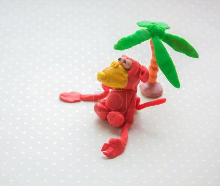 Plasticine monkey  symbol new year 2016. Selective focus.