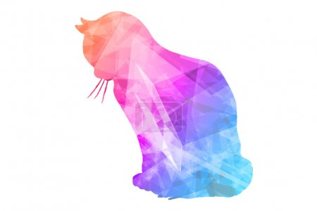Photo for Colorful Polygonal  Cat on White Background - Royalty Free Image