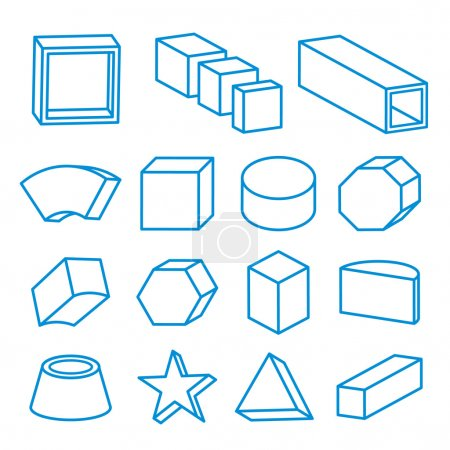 Illustration for Set of geometric shapes, platonic solids, vector Icon Line illustration - Royalty Free Image