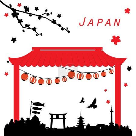 Vue de Japon voyage Vector noir et rouge