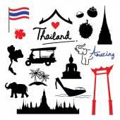 Thajsko místo mezník cestování ikony kreslené vektorové
