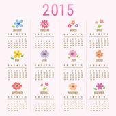 Kalendář do roku 2015 květina roztomilé kreslené vektorové
