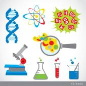 set of science stuff icon Lab cartoon vector