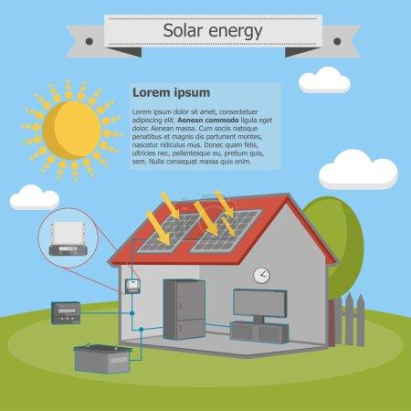 Illustration pour Énergie solaire panneau de maison schéma énergétique isométrique - image libre de droit