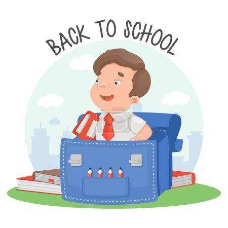 Schoolboy education backpack book