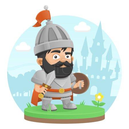 Illustration pour Guerrier personnage château légende - image libre de droit